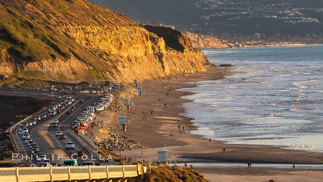 Torrey Pines State Beach at Sunset, La Jolla, Mount Soledad and Blacks Beach in the distance. Torrey Pines State Reserve, San Diego, California, USA, natural history stock photograph, photo id 35127