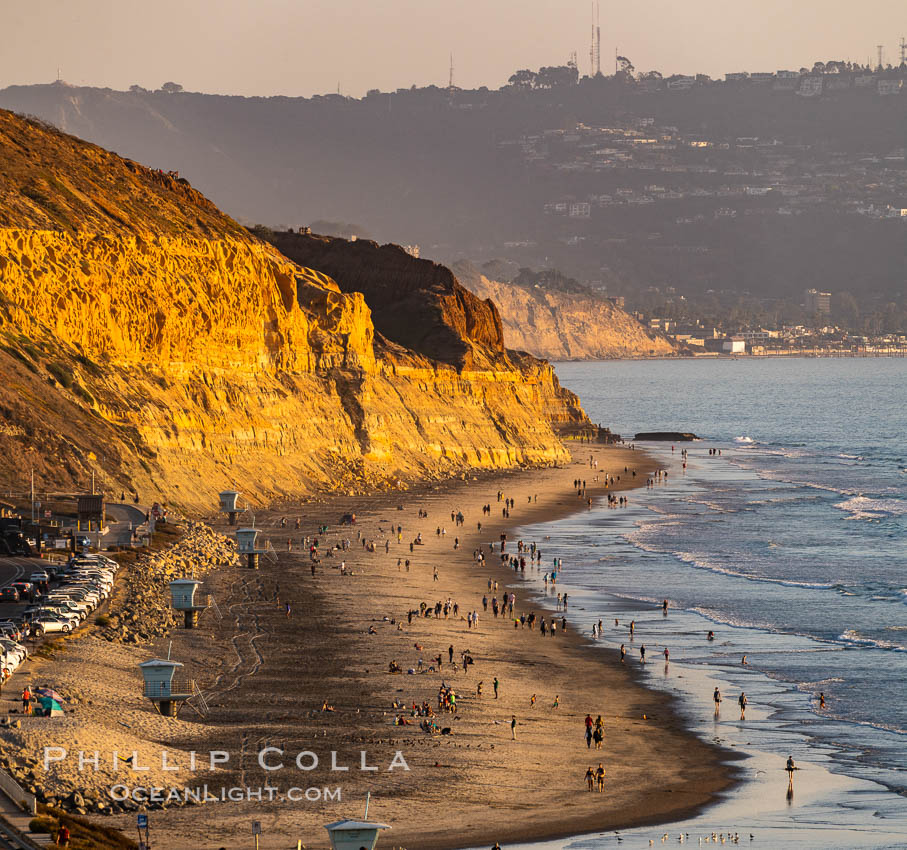 Torrey Pines State Beach at Sunset, La Jolla, Mount Soledad and Blacks Beach in the distance. Torrey Pines State Reserve, San Diego, California, USA, natural history stock photograph, photo id 35847