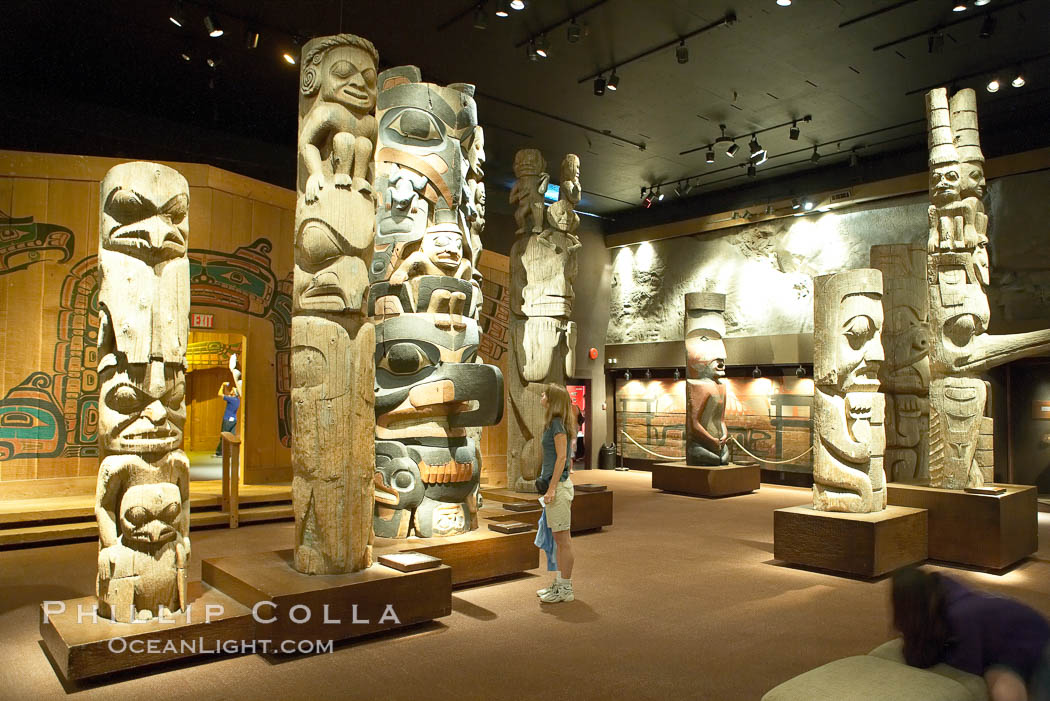 Totems on display in the Royal British Columbia Museum. Victoria, Canada, natural history stock photograph, photo id 21049
