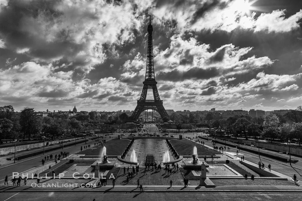Eiffel Tower and the Trocadero, clouds and sunshine, Paris. The Trocadero, site of the Palais de Chaillot, is an area of Paris, France, in the 16th arrondissement, across the Seine from the Eiffel Tower. Trocadero, Paris, France, natural history stock photograph, photo id 28150
