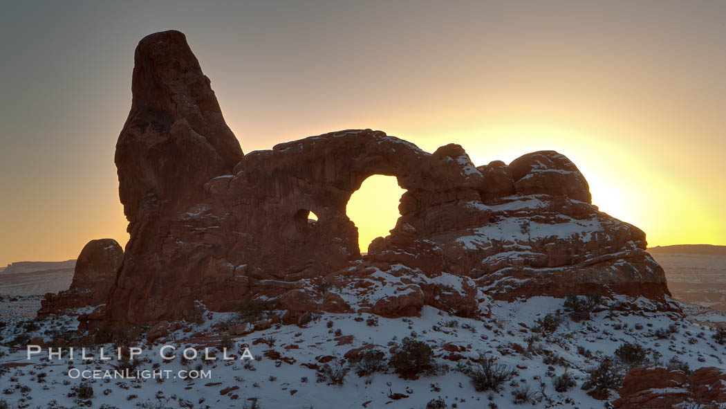 Turret Arch at sunset, winter. Turret Arch, Arches National Park, Utah, USA, natural history stock photograph, photo id 18146
