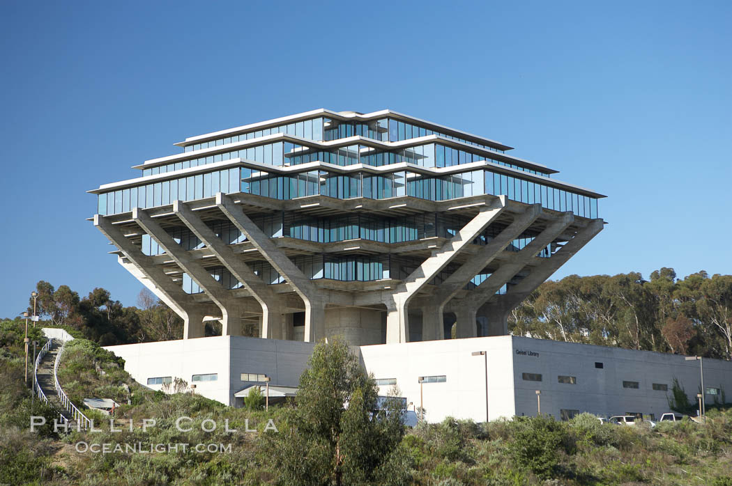 The UCSD Library (Geisel Library, UCSD Central Library) at the University of California, San Diego.  UCSD Library.  La Jolla, California.  On December 1, 1995 The University Library Building was renamed Geisel Library in honor of Audrey and Theodor Geisel (Dr. Seuss) for the generous contributions they have made to the library and their devotion to improving literacy.  In The Tower, Floors 4 through 8 house much of the Librarys collection and study space, while Floors 1 and 2 house service desks and staff work areas.  The library, designed in the late 1960s by William Pereira, is an eight story, concrete structure sited at the head of a canyon near the center of the campus. The lower two stories form a pedestal for the six story, stepped tower that has become a visual symbol for UCSD. USA, natural history stock photograph, photo id 11274