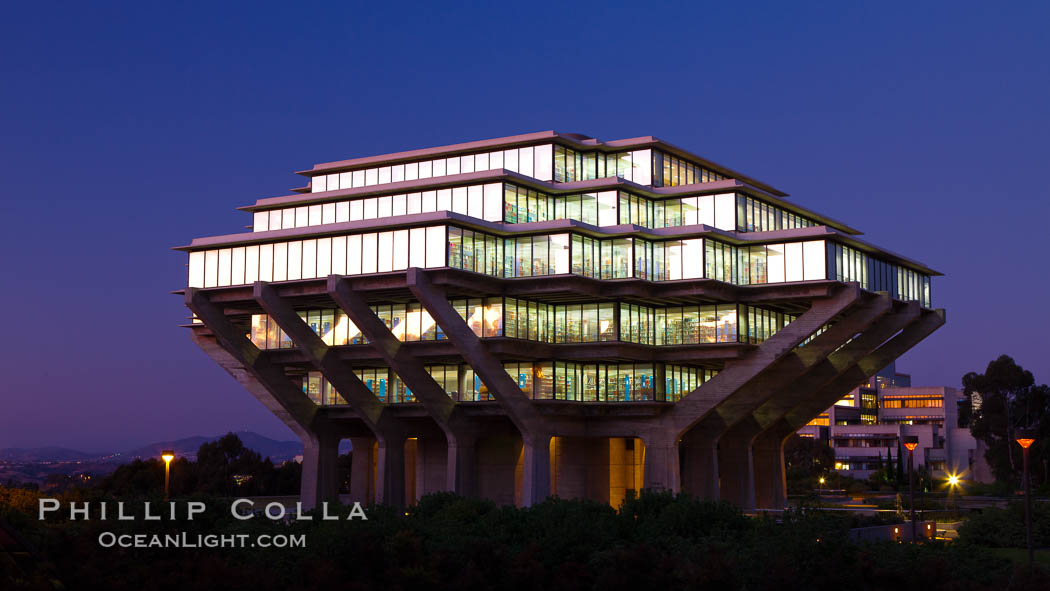 UCSD Library glows at sunset (Geisel Library, UCSD Central Library). University of California, San Diego, USA, natural history stock photograph, photo id 26910