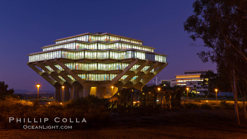 UCSD Library glows at sunset (Geisel Library, UCSD Central Library). University of California, San Diego, USA, natural history stock photograph, photo id 26912