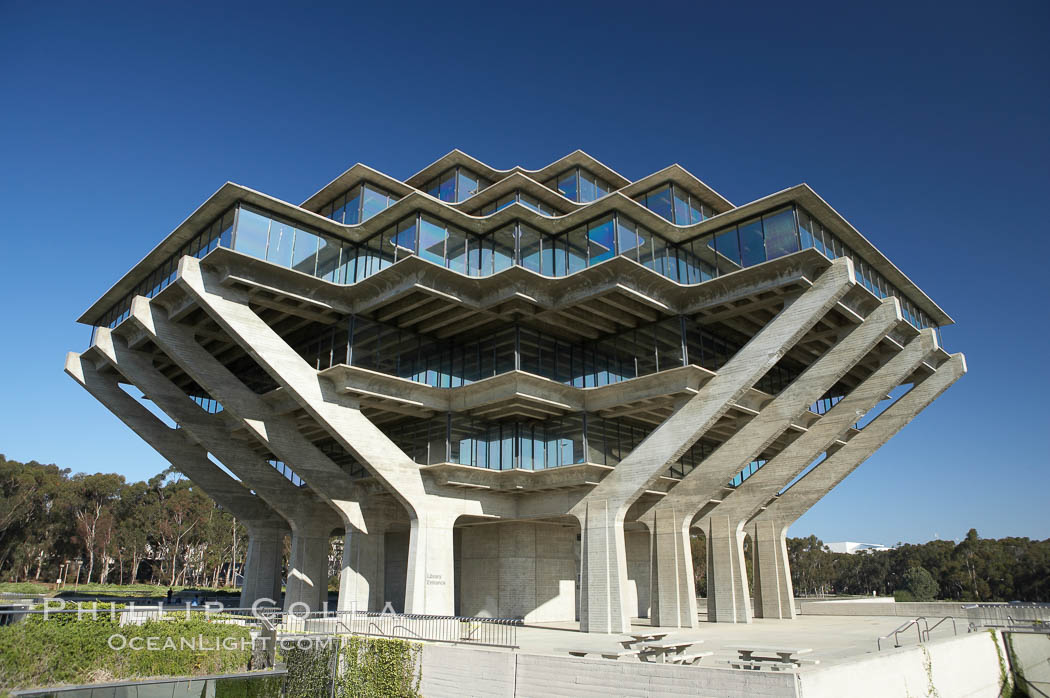 The UCSD Library (Geisel Library, UCSD Central Library) at the University of California, San Diego.  UCSD Library.  La Jolla, California.  On December 1, 1995 The University Library Building was renamed Geisel Library in honor of Audrey and Theodor Geisel (Dr. Seuss) for the generous contributions they have made to the library and their devotion to improving literacy.  In The Tower, Floors 4 through 8 house much of the Librarys collection and study space, while Floors 1 and 2 house service desks and staff work areas.  The library, designed in the late 1960s by William Pereira, is an eight story, concrete structure sited at the head of a canyon near the center of the campus. The lower two stories form a pedestal for the six story, stepped tower that has become a visual symbol for UCSD. University of California, San Diego, La Jolla, California, USA, natural history stock photograph, photo id 11279