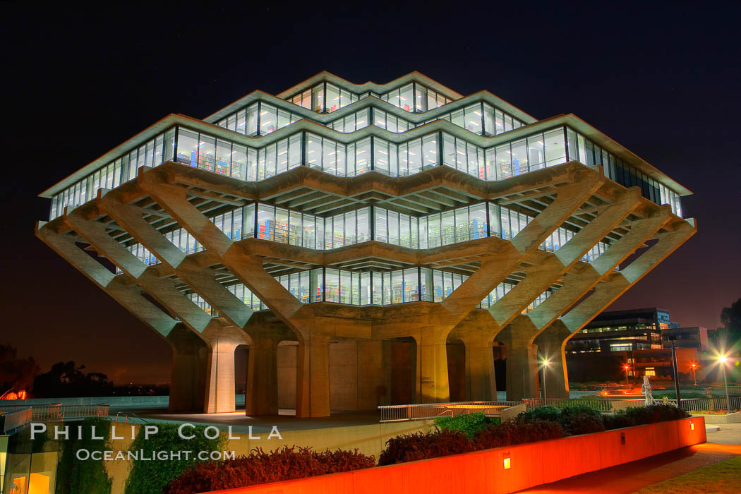 Image 20142, UCSD Library glows with light in this night time exposure (Geisel Library, UCSD Central Library). University of California, San Diego, La Jolla, California, USA, Phillip Colla, all rights reserved worldwide. Keywords: architecture, books, building, california, campus, college, concrete, cube, design, education, futuristic, geisel library, hdr, la jolla, library, modern, outdoors, outside, research, san diego, scene, school, tourism, travel, ucsd, ucsd library, university, university of california, university of california san diego, usa.