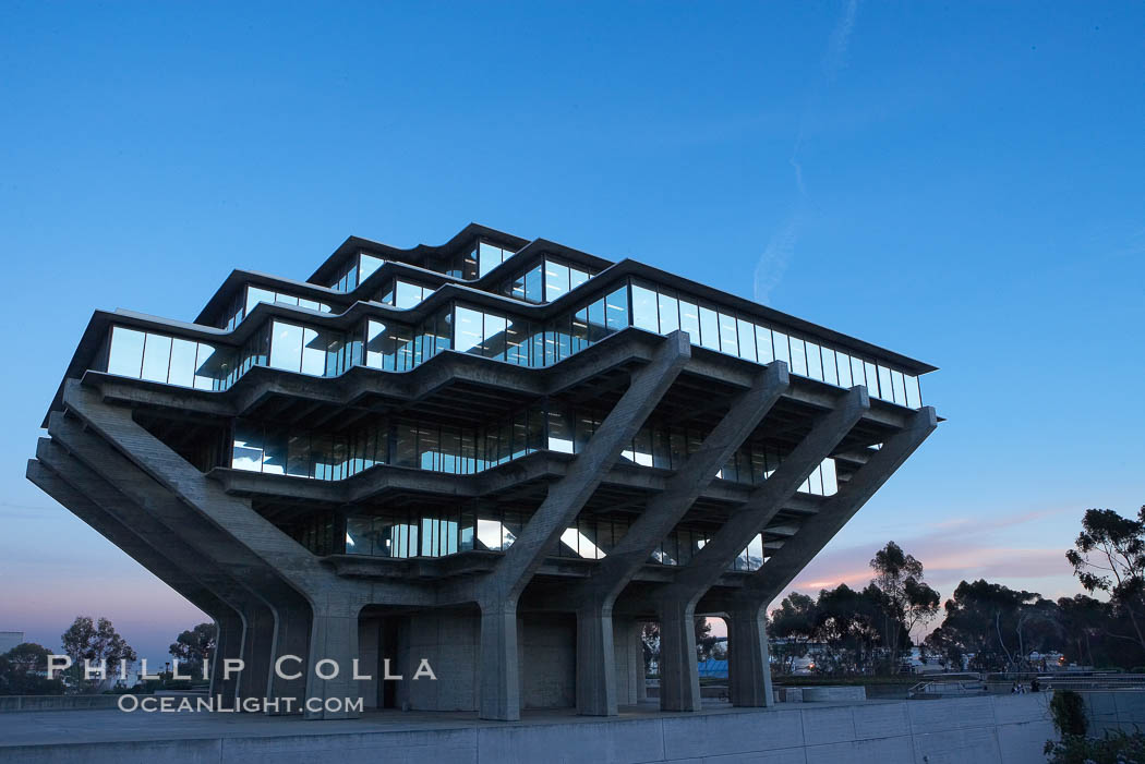 UCSD Library glows with light in this night time exposure (Geisel Library, UCSD Central Library). University of California, San Diego, La Jolla, USA, natural history stock photograph, photo id 20183