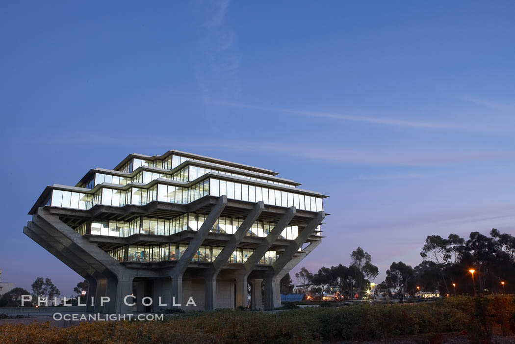 UCSD Library glows with light in this night time exposure (Geisel Library, UCSD Central Library). University of California, San Diego, La Jolla, USA, natural history stock photograph, photo id 20185
