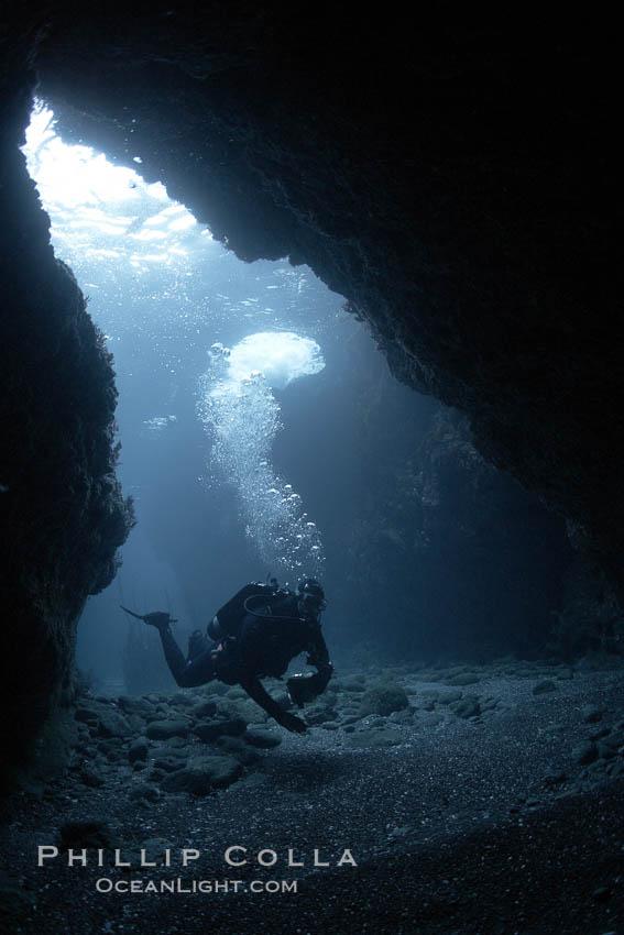 Image 23464, A SCUBA diver enters a submarine cavern at Santa Barbara Island, underwater cave. Santa Barbara Island, California, USA