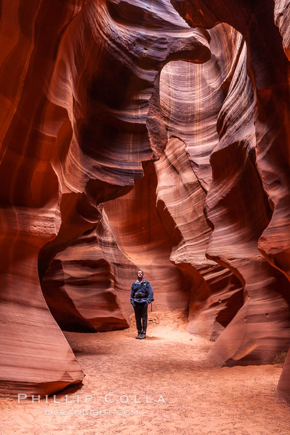 Image 18007, A hiker admiring the striated walls and dramatic light within Antelope Canyon, a deep narrow slot canyon formed by water and wind erosion. Navajo Tribal Lands, Page, Arizona, USA
