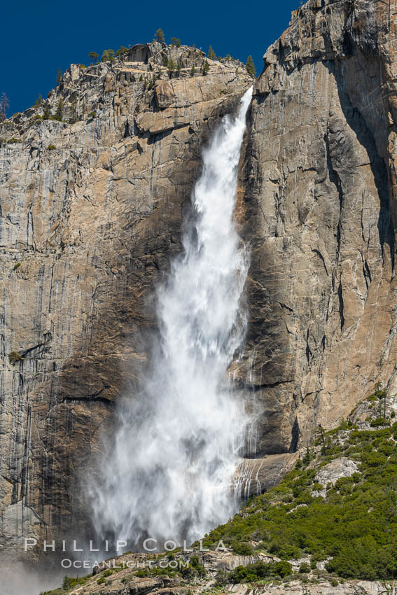 Image 34552, Upper Yosemite Falls near peak flow in spring. Yosemite Falls, at 2425 feet tall (730m) is the tallest waterfall in North America and fifth tallest in the world. Yosemite Falls, Yosemite National Park, California, USA