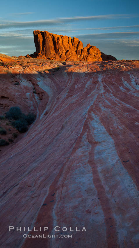 Sandstone striations and butte, dawn. Valley of Fire State Park, Nevada, USA, natural history stock photograph, photo id 26515