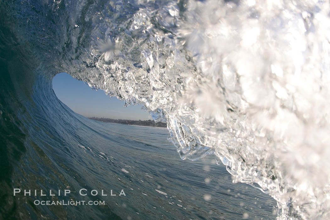 Cresting wave, morning light, glassy water, surf. Cardiff by the Sea, California, USA, natural history stock photograph, photo id 20812