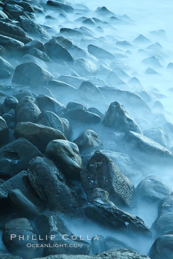 Waves and beach boulders, abstract study of water movement. La Jolla, California, USA, natural history stock photograph, photo id 26448