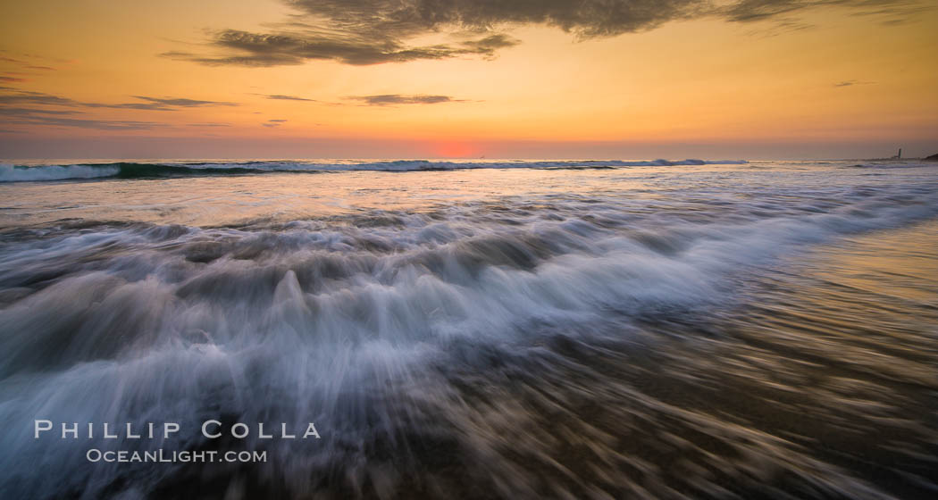 Waves rush in at sunset, Carlsbad beach sunset and ocean waves, seascape, dusk, summer. California, USA, natural history stock photograph, photo id 27974