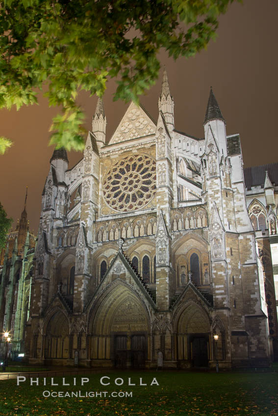 Westminster Abbey at Night. London, United Kingdom, natural history stock photograph, photo id 28281
