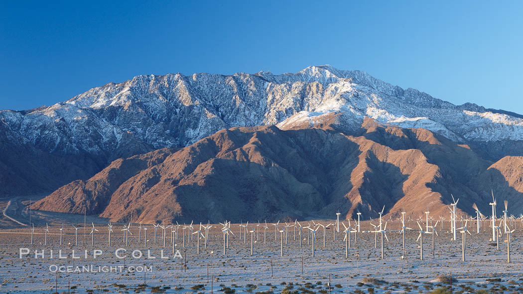 Wind turbines, rise above the flat floor of the San Gorgonio Pass near Palm Springs, with snow covered Mount San Jacinto in the background, provide electricity to Palm Springs and the Coachella Valley. California, USA, natural history stock photograph, photo id 22210