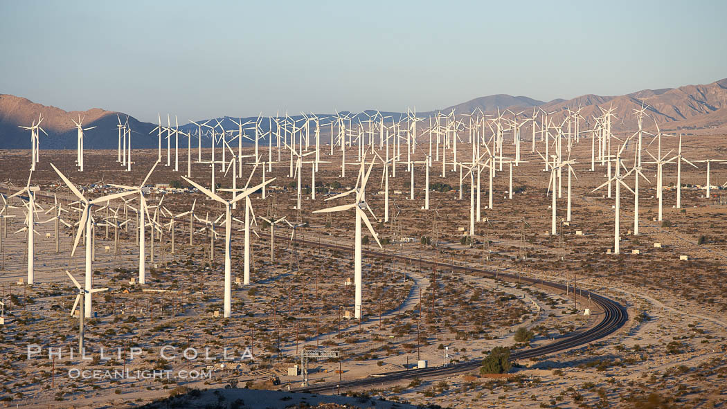 Wind turbines, in the San Gorgonio Pass, near Interstate 10 provide electricity to Palm Springs and the Coachella Valley. California, USA, natural history stock photograph, photo id 22238