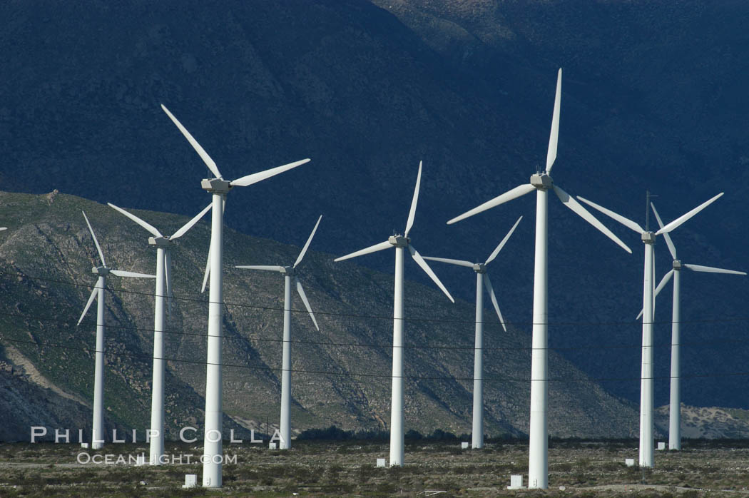Wind turbines provide electricity to Palm Springs and the Coachella Valley. San Gorgonio pass, San Bernardino mountains. San Gorgonio Pass, California, USA, natural history stock photograph, photo id 06862
