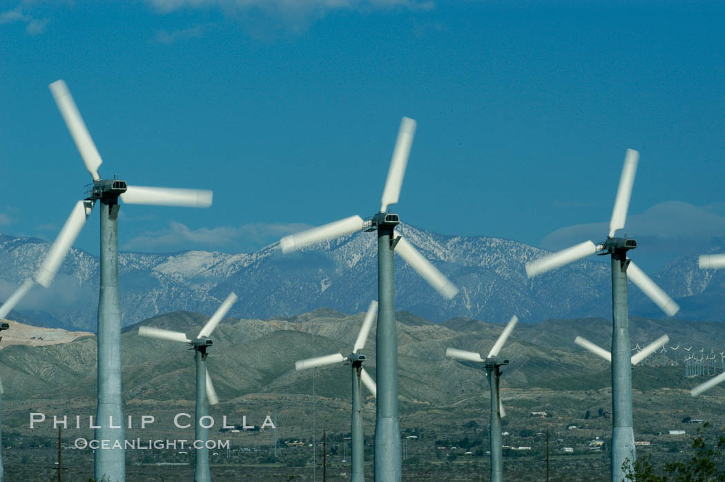Wind turbines provide electricity to Palm Springs and the Coachella Valley. San Gorgonio pass, San Bernardino mountains. San Gorgonio Pass, California, USA, natural history stock photograph, photo id 06866