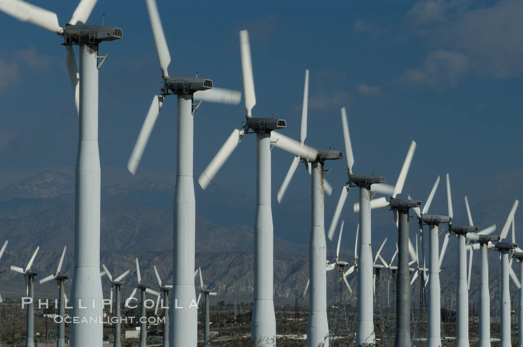 Wind turbines provide electricity to Palm Springs and the Coachella Valley. San Gorgonio pass, San Bernardino mountains. San Gorgonio Pass, Palm Springs, California, USA, natural history stock photograph, photo id 06857