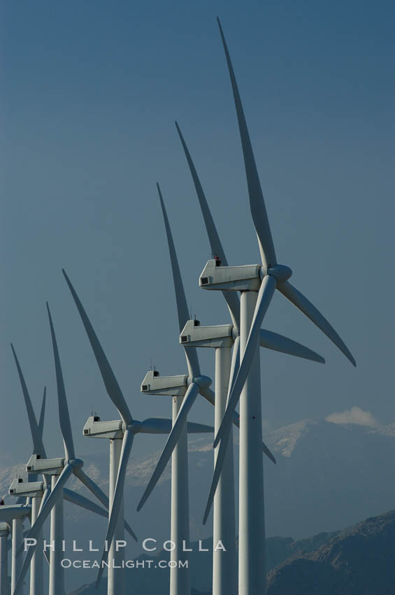 Wind turbines provide electricity to Palm Springs and the Coachella Valley. San Gorgonio pass, San Bernardino mountains. San Gorgonio Pass, Palm Springs, California, USA, natural history stock photograph, photo id 06865