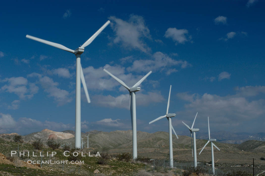 Wind turbines provide electricity to Palm Springs and the Coachella Valley. San Gorgonio pass, San Bernardino mountains. San Gorgonio Pass, California, USA, natural history stock photograph, photo id 06882