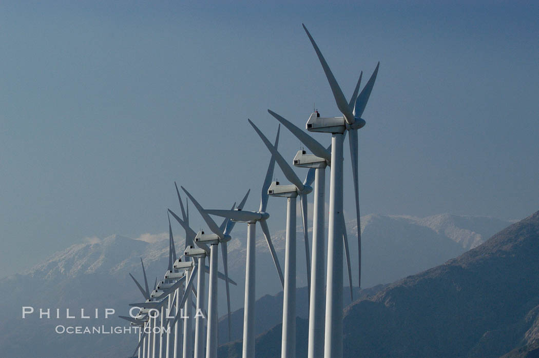 Image 06890, Wind turbines provide electricity to Palm Springs and the Coachella Valley. San Gorgonio pass, San Bernardino mountains. San Gorgonio Pass, Palm Springs, California, USA