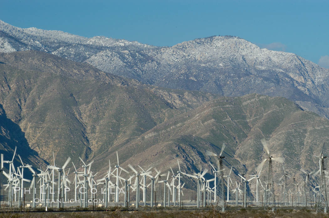 Wind turbines provide electricity to Palm Springs and the Coachella Valley. San Gorgonio pass, San Bernardino mountains. San Gorgonio Pass, California, USA, natural history stock photograph, photo id 06894