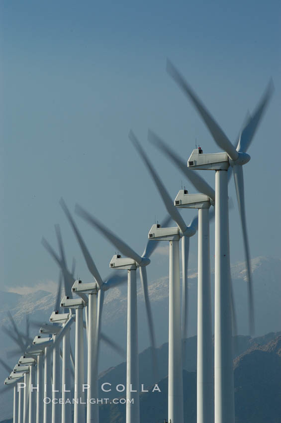 Wind turbines provide electricity to Palm Springs and the Coachella Valley. San Gorgonio pass, San Bernardino mountains. San Gorgonio Pass, Palm Springs, California, USA, natural history stock photograph, photo id 06888