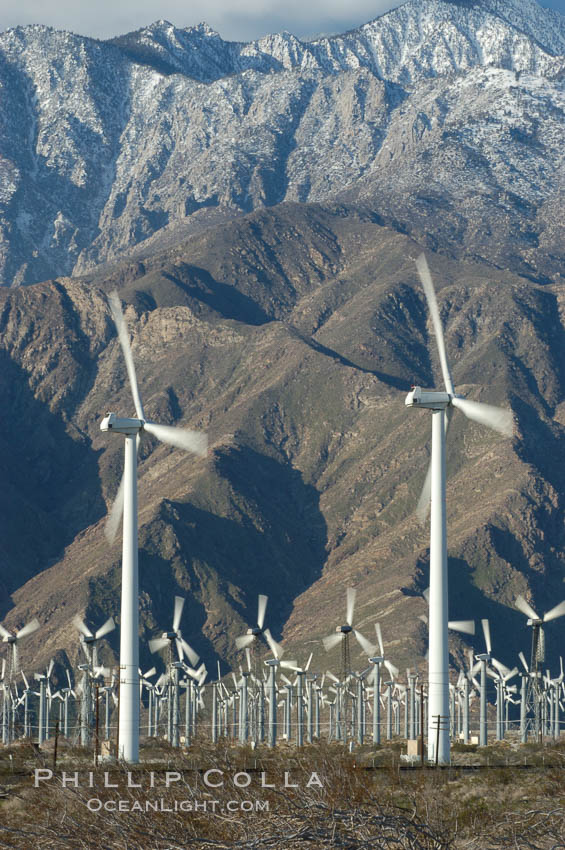 Wind turbines provide electricity to Palm Springs and the Coachella Valley. San Gorgonio pass, San Bernardino mountains. San Gorgonio Pass, Palm Springs, California, USA, natural history stock photograph, photo id 06892