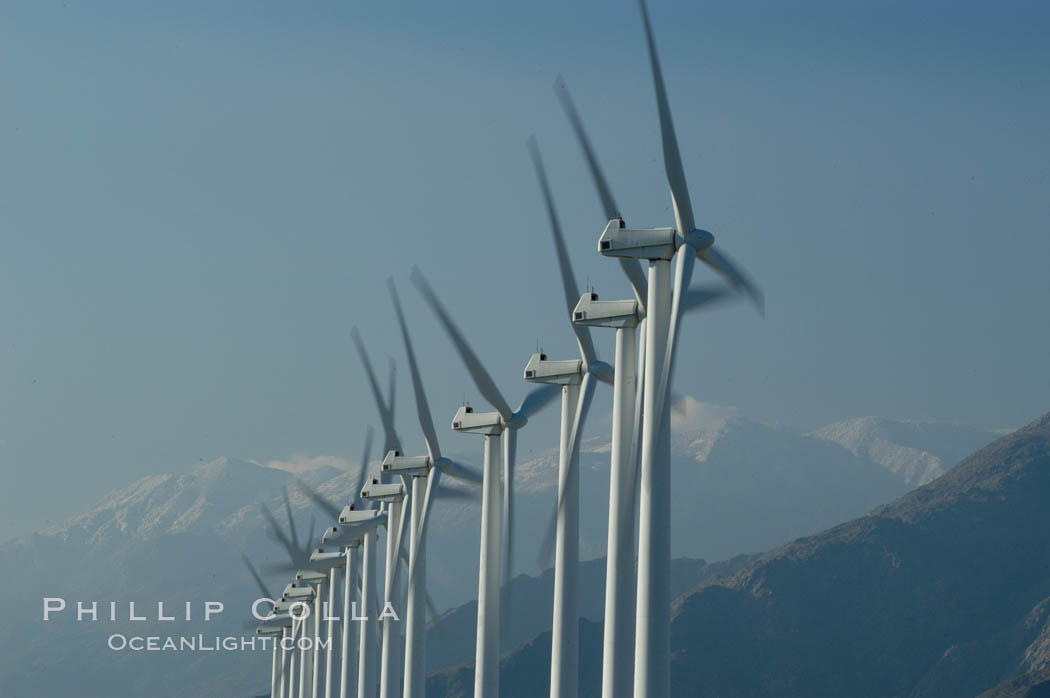 Wind turbines provide electricity to Palm Springs and the Coachella Valley. San Gorgonio pass, San Bernardino mountains. San Gorgonio Pass, California, USA, natural history stock photograph, photo id 06889