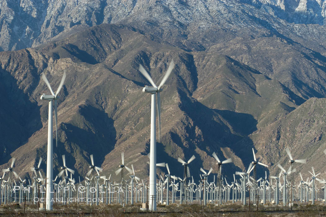 Wind turbines provide electricity to Palm Springs and the Coachella Valley. San Gorgonio pass, San Bernardino mountains. San Gorgonio Pass, Palm Springs, California, USA, natural history stock photograph, photo id 06893