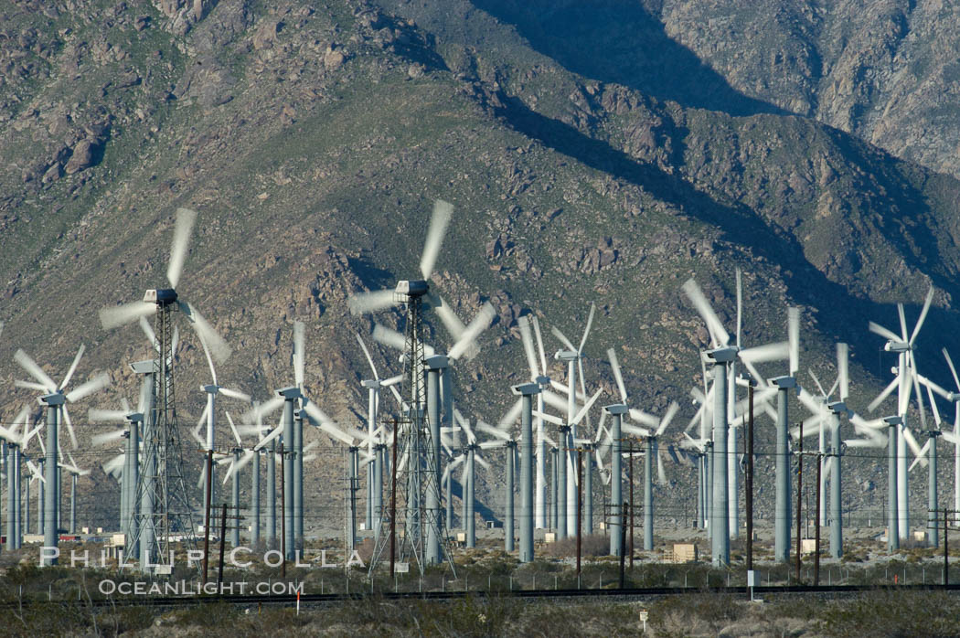 Wind turbines provide electricity to Palm Springs and the Coachella Valley. San Gorgonio pass, San Bernardino mountains. San Gorgonio Pass, Palm Springs, California, USA, natural history stock photograph, photo id 06895