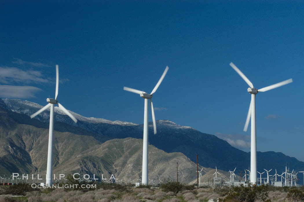 Wind turbines provide electricity to Palm Springs and the Coachella Valley. San Gorgonio pass, San Bernardino mountains. San Gorgonio Pass, California, USA, natural history stock photograph, photo id 06907