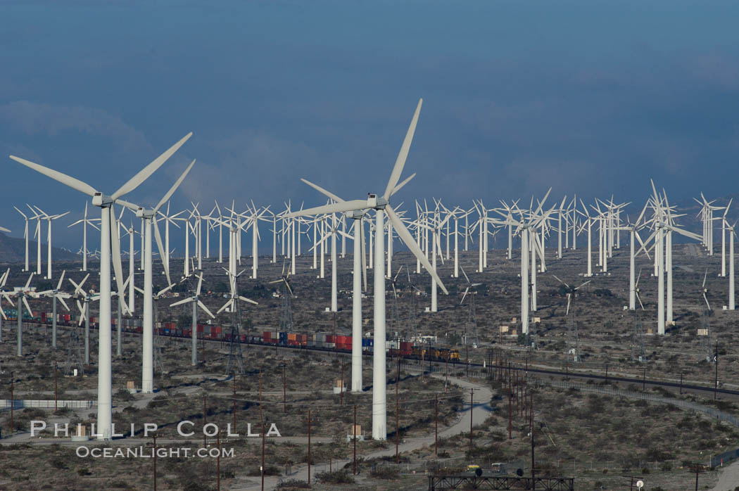 Wind turbines provide electricity to Palm Springs and the Coachella Valley. San Gorgonio pass, San Bernardino mountains. San Gorgonio Pass, California, USA, natural history stock photograph, photo id 06915