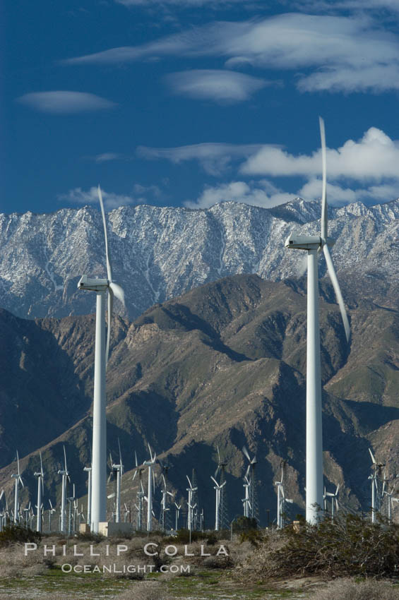 Image 06905, Wind turbines provide electricity to Palm Springs and the Coachella Valley. San Gorgonio pass, San Bernardino mountains. San Gorgonio Pass, Palm Springs, California, USA, Phillip Colla, all rights reserved worldwide. Keywords: california, coachella valley, desert, electricity, energy, palm springs, power generation, san gorgonio pass, san gorgonio pass wind farm, science and technology, usa, wind farm, wind power, wind turbine, windmill.