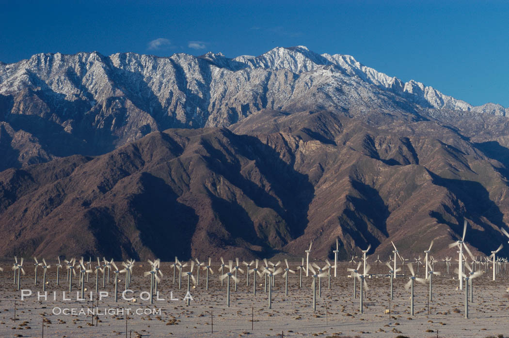 Wind turbines provide electricity to Palm Springs and the Coachella Valley. San Gorgonio pass, San Bernardino mountains. San Gorgonio Pass, California, USA, natural history stock photograph, photo id 06909