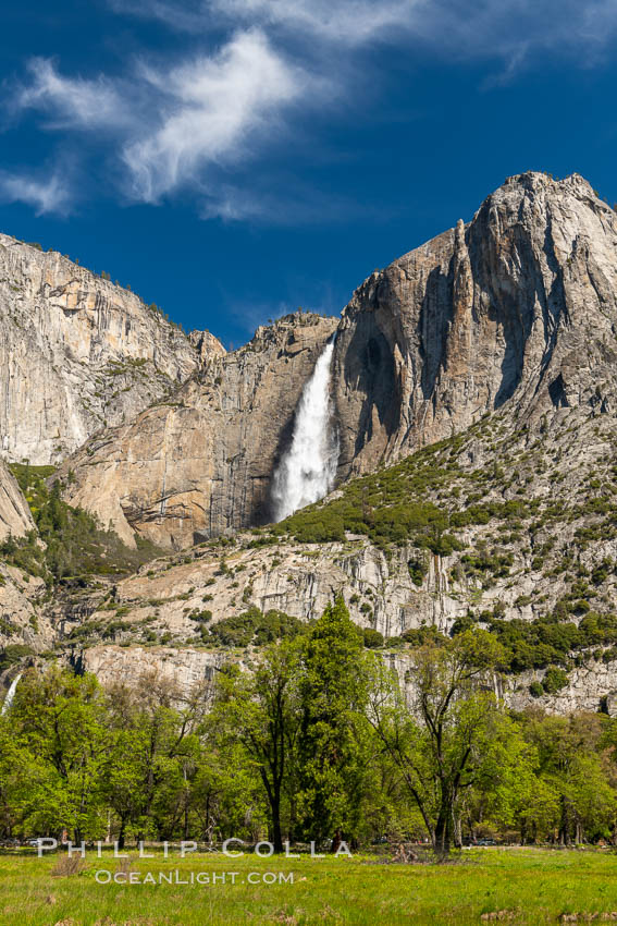 Yosemite Falls and Cooks Meadow in spring, Yosemite National Park. California, USA, natural history stock photograph, photo id 34549
