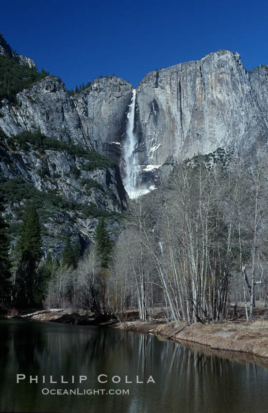 Yosemite Falls viewed from swinging bridge over Merced River, winter, Yosemite Valley. Yosemite National Park, California, USA, natural history stock photograph, photo id 07031
