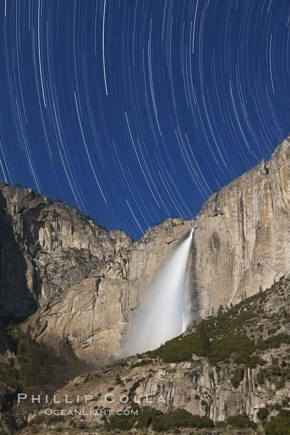 Yosemite Falls and star trails, at night, viewed from Cook's Meadow, illuminated by the light of the full moon. Yosemite Falls, Yosemite National Park, California, USA, natural history stock photograph, photo id 27731