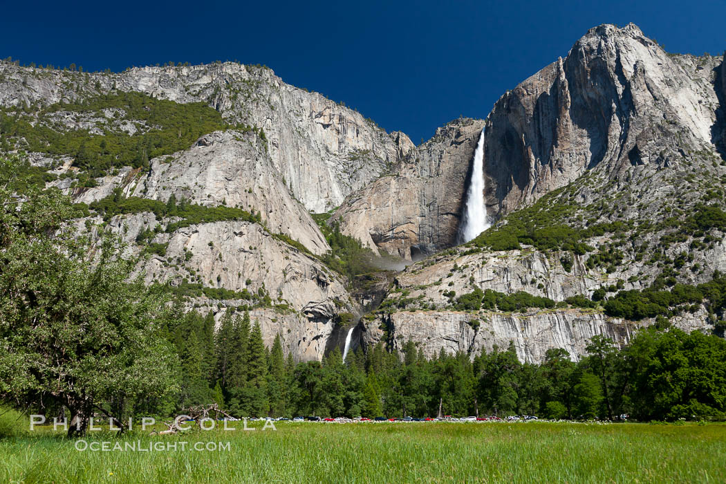 Yosemite Falls viewed from Cooks Meadow, spring. Yosemite National Park, California, USA, natural history stock photograph, photo id 26903
