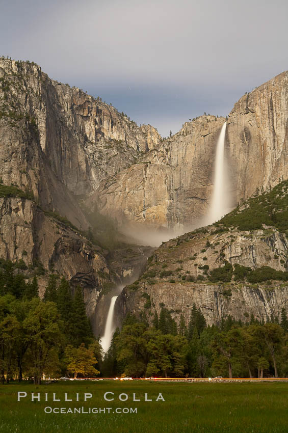 Yosemite Falls by moonlight, viewed from Cooks Meadow. Yosemite Valley. Yosemite National Park, California, USA, natural history stock photograph, photo id 16096