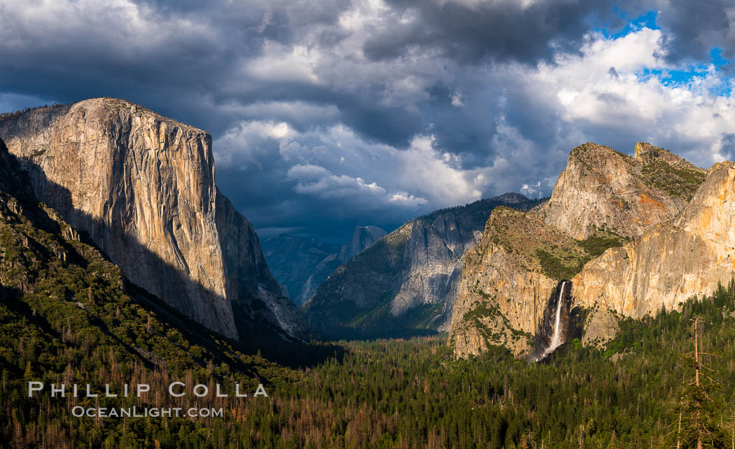 Image 34542, Yosemite Valley Tunnel View, Storm clouds at sunset, Yosemite National Park. Yosemite National Park, California, USA