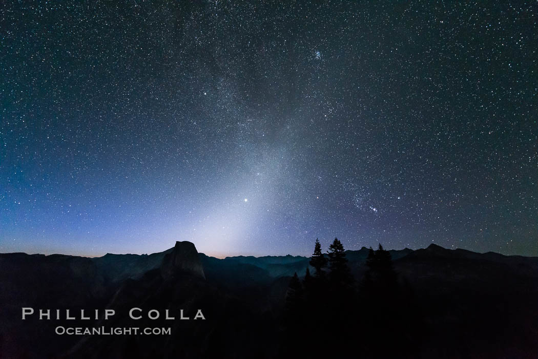 Zodiacal Light and planet Jupiter in the northeastern horizon, above Half Dome and the Yosemite high country. Glacier Point, Yosemite National Park, California, USA, natural history stock photograph, photo id 28743