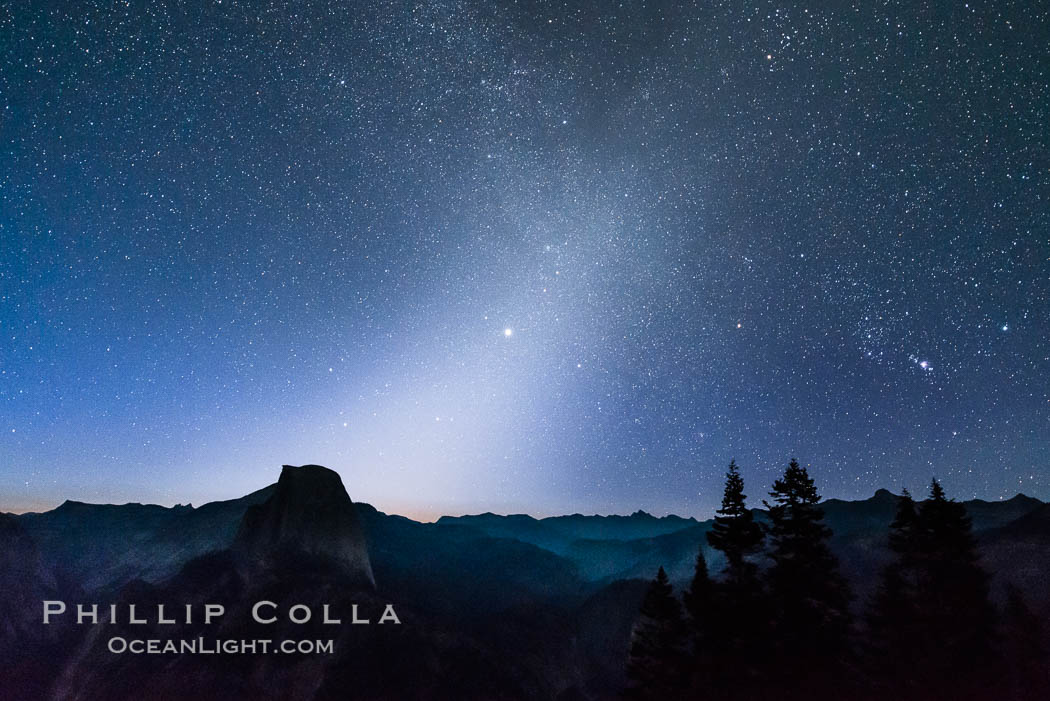 Image 28745, Zodiacal Light and planet Jupiter in the northeastern horizon, above Half Dome and the Yosemite high country. Glacier Point, Yosemite National Park, California, USA, Phillip Colla, all rights reserved worldwide. Keywords: astrophotography, california, evening, glacier point, half dome, jupiter, landscape astrophotography, night, planet, space dust, stars, yosemite, yosemite national park, zodiacal light.